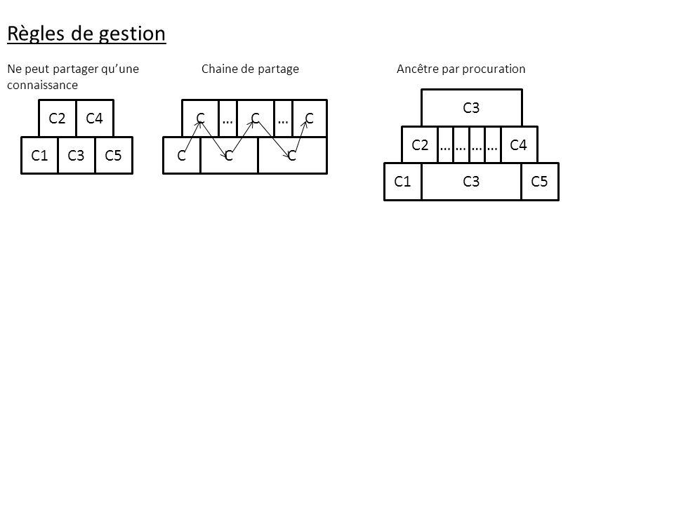 Règles de gestion C1C3C5 C4C2 Ne peut partager quune connaissance CC C Chaine de partage C… C …C C1C3C5 C4C2 C3 ………… Ancêtre par procuration
