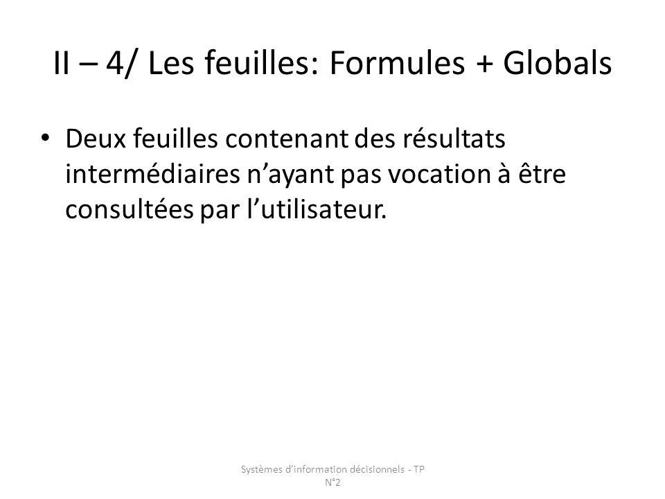 II – 4/ Les feuilles: Formules + Globals Deux feuilles contenant des résultats intermédiaires nayant pas vocation à être consultées par lutilisateur.