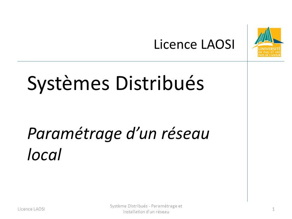 Licence LAOSI Systèmes Distribués Paramétrage dun réseau local Licence LAOSI1 Système Distribués - Paramétrage et installation d'un réseau