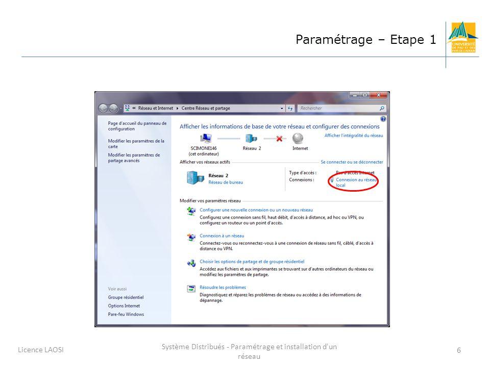 Système Distribués - Paramétrage et installation d un réseau 7 Licence LAOSI Paramétrage : étape 2