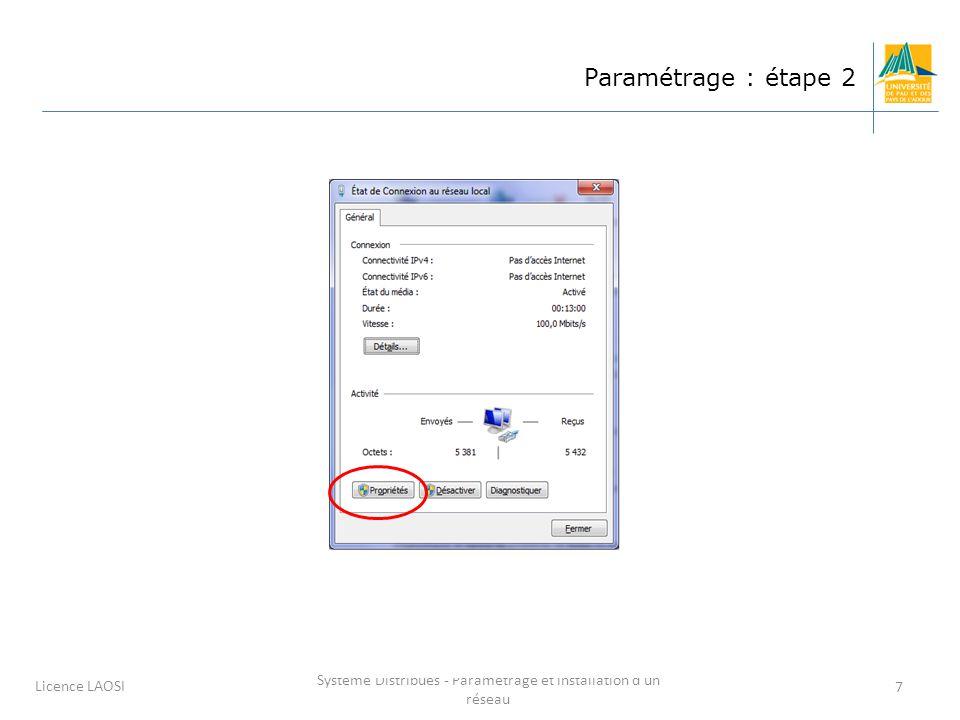 Système Distribués - Paramétrage et installation d'un réseau 7 Licence LAOSI Paramétrage : étape 2