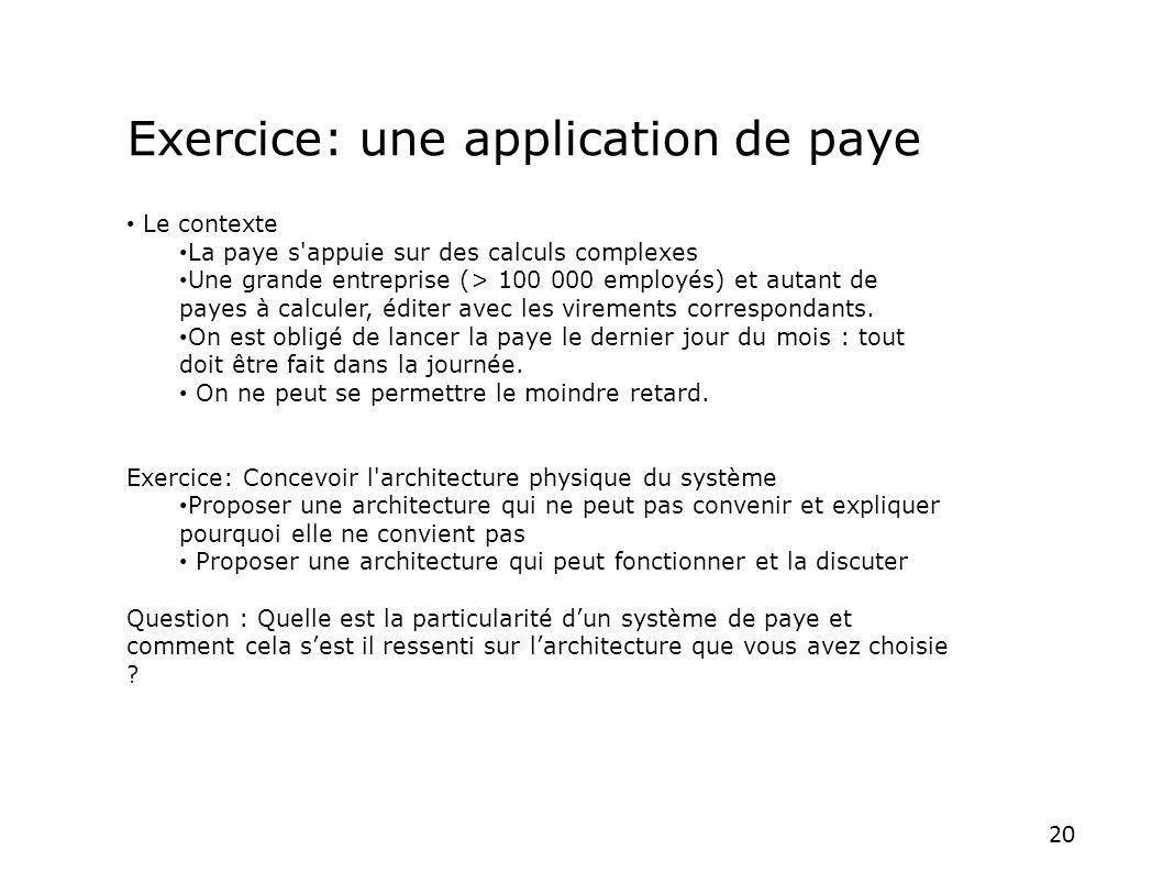 20 Le contexte La paye s'appuie sur des calculs complexes Une grande entreprise (> 100 000 employés) et autant de payes à calculer, éditer avec les vi