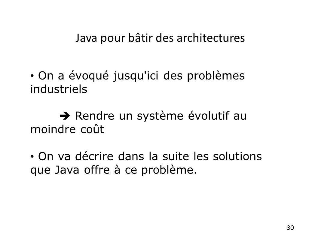 30 On a évoqué jusqu'ici des problèmes industriels Rendre un système évolutif au moindre coût On va décrire dans la suite les solutions que Java offre