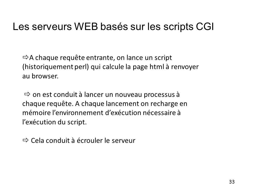 33 Les serveurs WEB basés sur les scripts CGI A chaque requête entrante, on lance un script (historiquement perl) qui calcule la page html à renvoyer