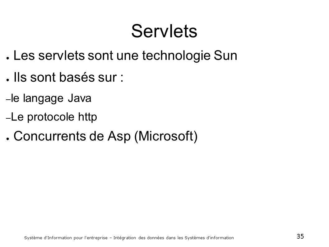 35 Système d'Information pour l'entreprise – Intégration des données dans les Systèmes d'information Servlets Les servlets sont une technologie Sun Il