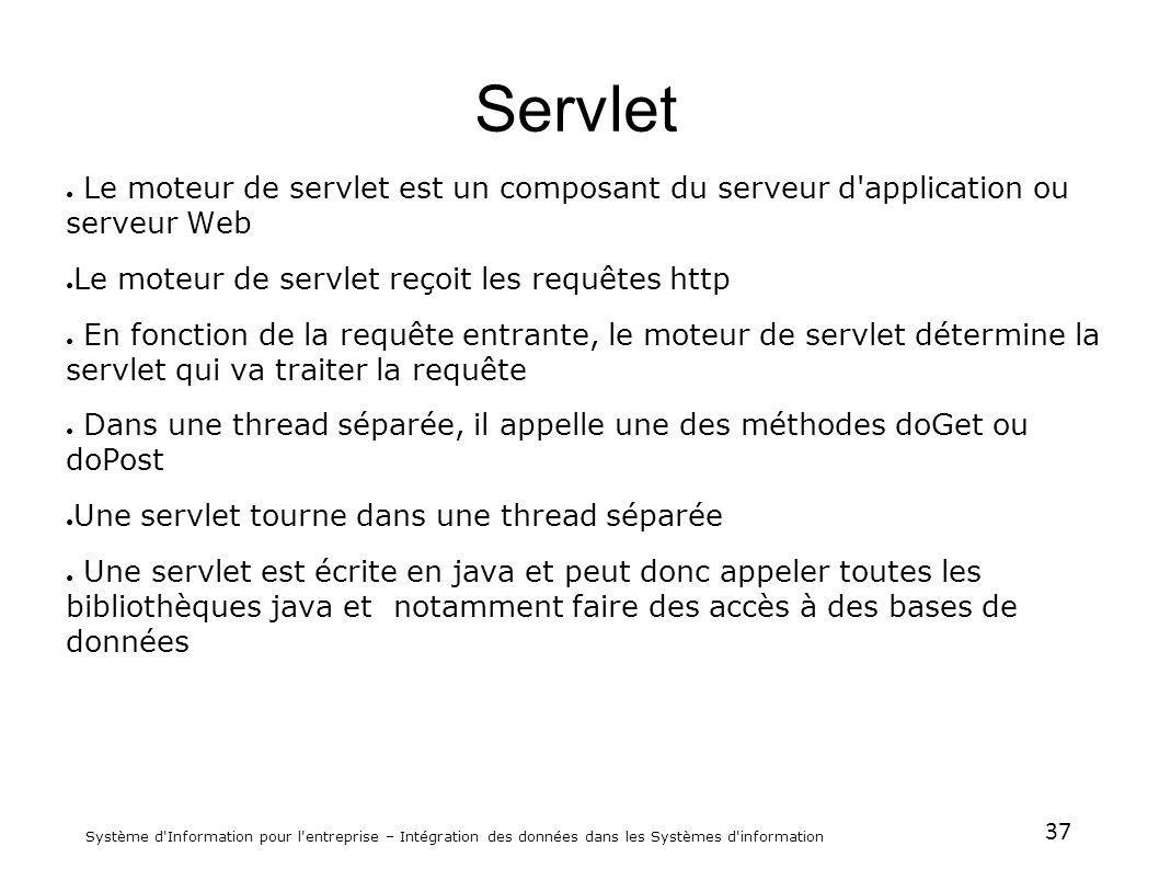 37 Système d'Information pour l'entreprise – Intégration des données dans les Systèmes d'information Servlet Le moteur de servlet est un composant du