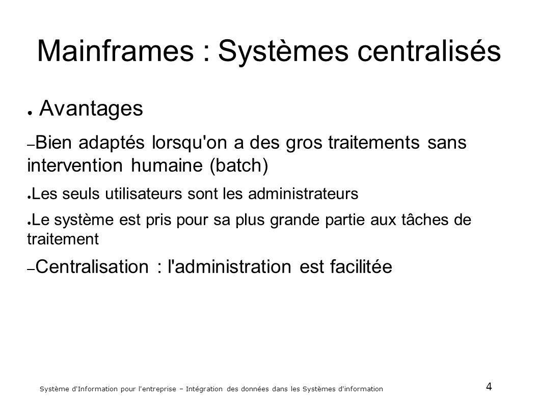 5 Système d Information pour l entreprise – Intégration des données dans les Systèmes d information Mainframes : Systèmes centralisés Inconvénients: – Gérer la centralisation dun tel système avec les problèmes généraux qui y sont liés.