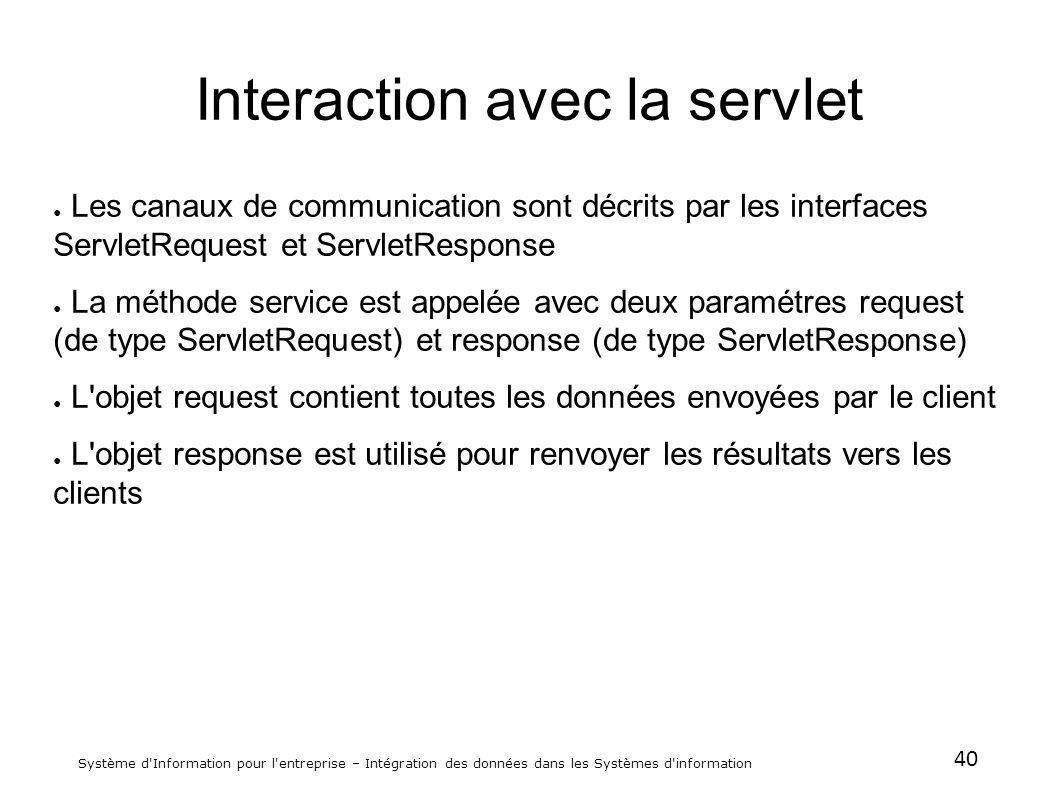 40 Système d'Information pour l'entreprise – Intégration des données dans les Systèmes d'information Interaction avec la servlet Les canaux de communi