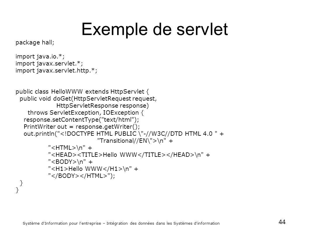 44 Système d'Information pour l'entreprise – Intégration des données dans les Systèmes d'information Exemple de servlet package hall; import java.io.*