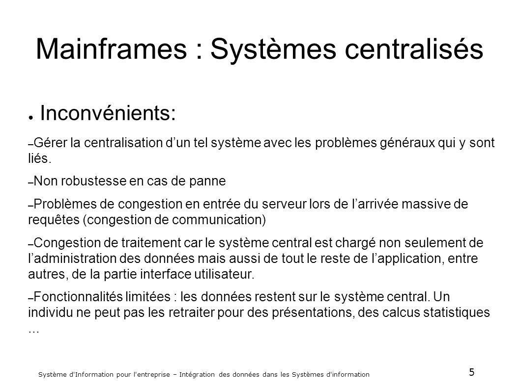 5 Système d'Information pour l'entreprise – Intégration des données dans les Systèmes d'information Mainframes : Systèmes centralisés Inconvénients: –