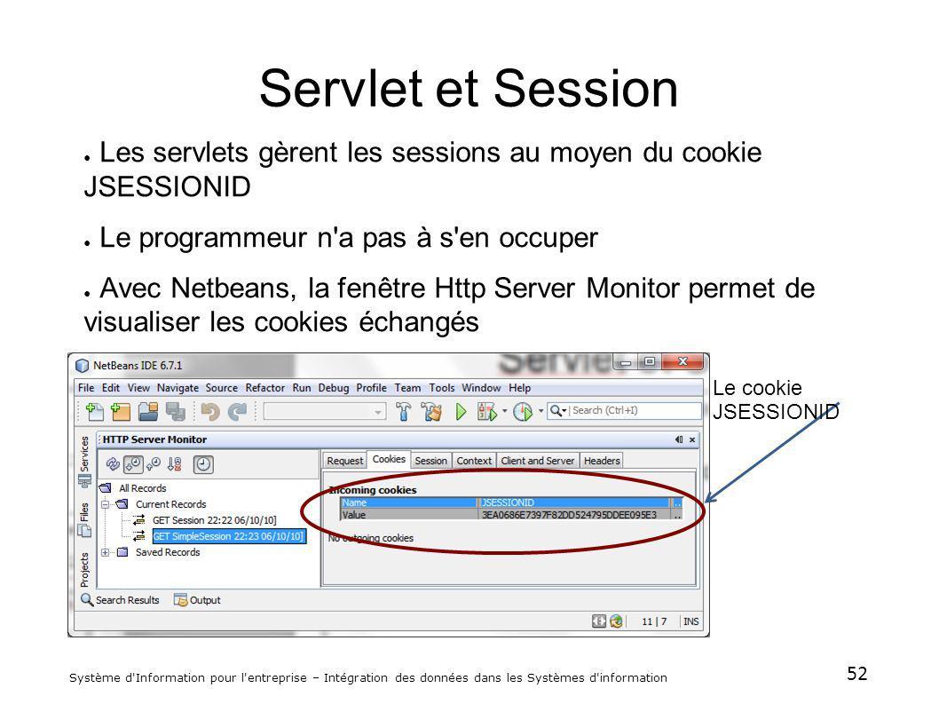 52 Système d'Information pour l'entreprise – Intégration des données dans les Systèmes d'information Servlet et Session Les servlets gèrent les sessio