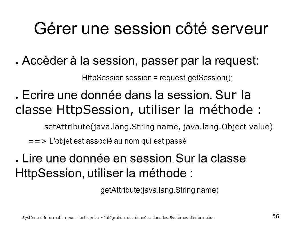 56 Système d'Information pour l'entreprise – Intégration des données dans les Systèmes d'information Gérer une session côté serveur Accèder à la sessi