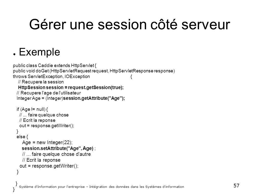 57 Système d'Information pour l'entreprise – Intégration des données dans les Systèmes d'information Gérer une session côté serveur Exemple public cla