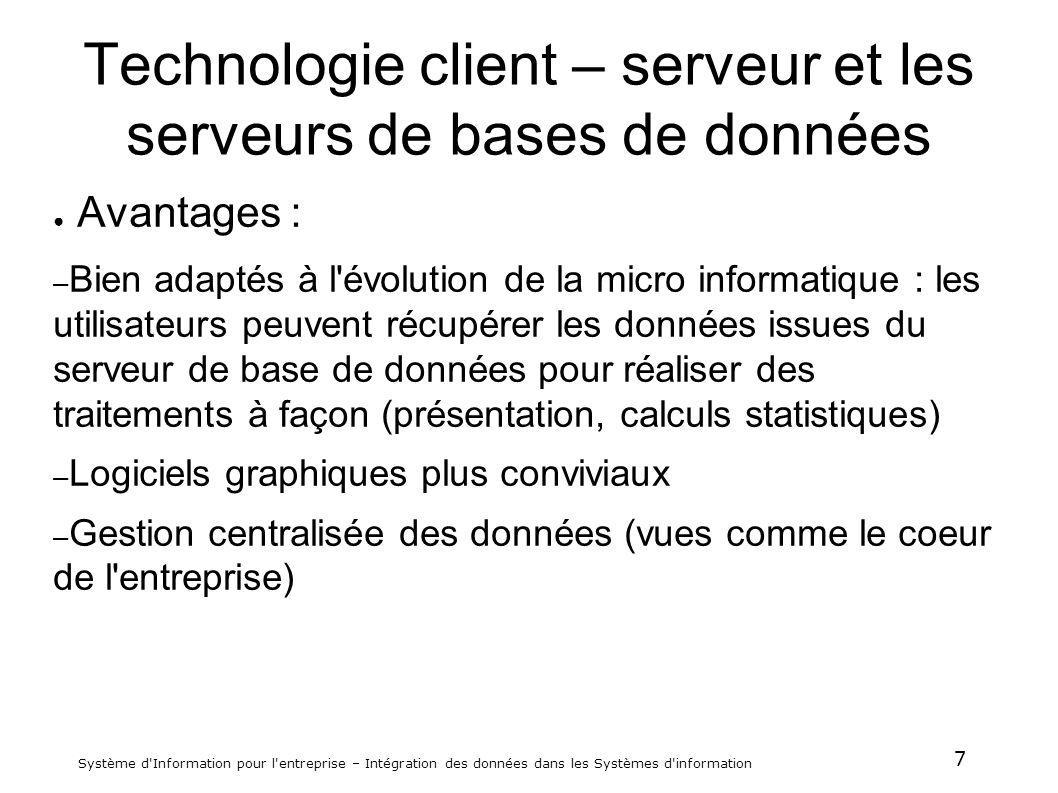 7 Système d'Information pour l'entreprise – Intégration des données dans les Systèmes d'information Technologie client – serveur et les serveurs de ba