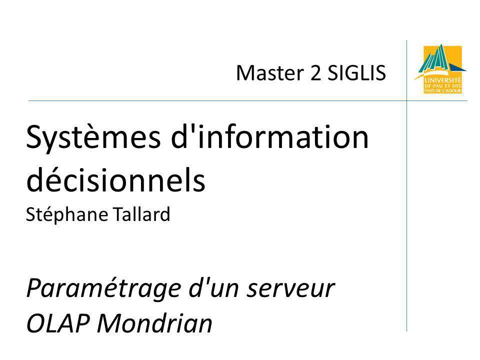 Master 2 SIGLIS Systèmes d information décisionnels Stéphane Tallard Paramétrage d un serveur OLAP Mondrian