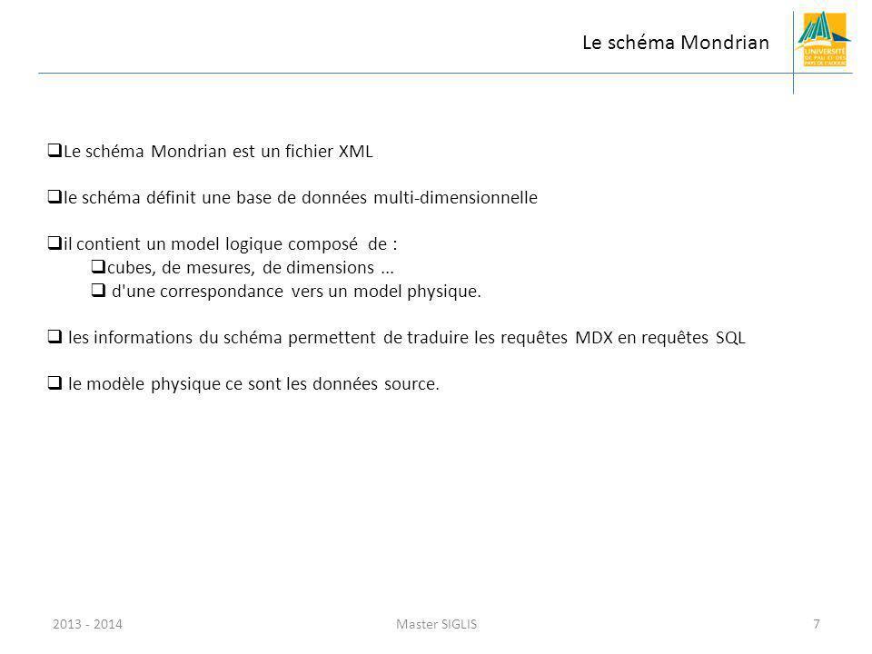 2013 - 2014Master SIGLIS7 Le schéma Mondrian Le schéma Mondrian est un fichier XML le schéma définit une base de données multi-dimensionnelle il contient un model logique composé de : cubes, de mesures, de dimensions...
