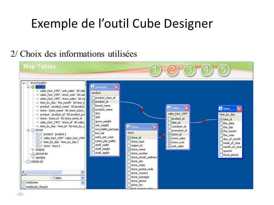 -10- Exemple de loutil Cube Designer 2/ Choix des informations utilisées