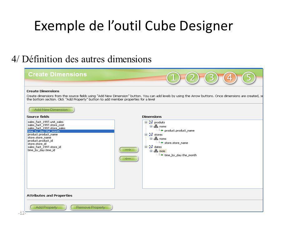 -12- Exemple de loutil Cube Designer 4/ Définition des autres dimensions