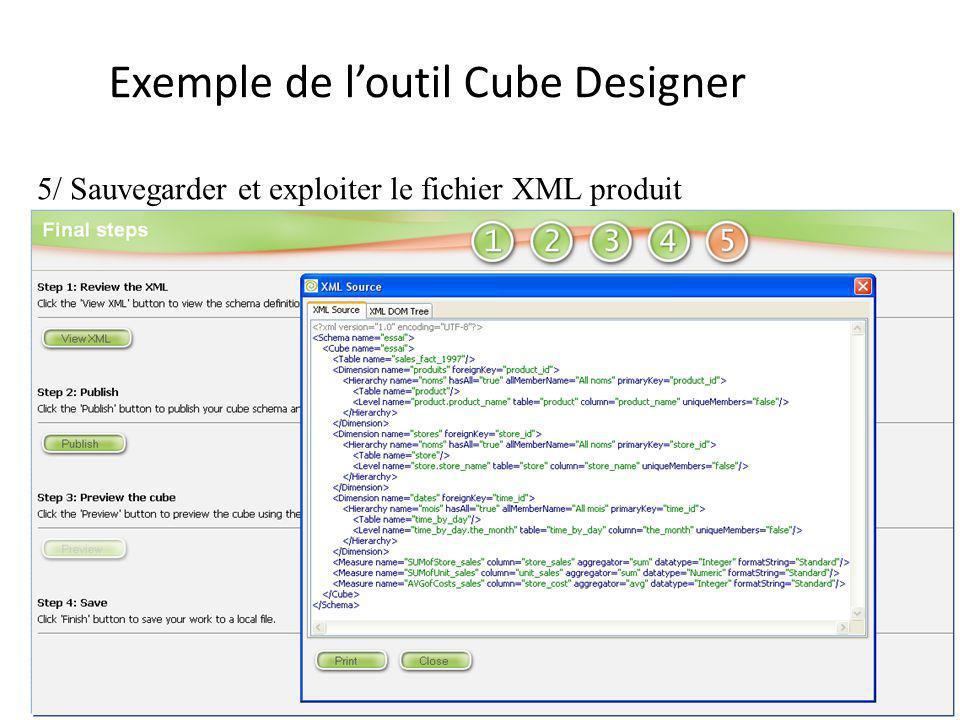 -13- Exemple de loutil Cube Designer 5/ Sauvegarder et exploiter le fichier XML produit
