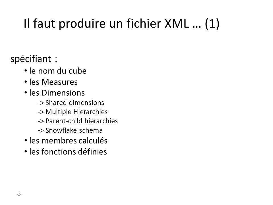 -2- Il faut produire un fichier XML … (1) spécifiant : le nom du cube les Measures les Dimensions -> Shared dimensions -> Multiple Hierarchies -> Pare