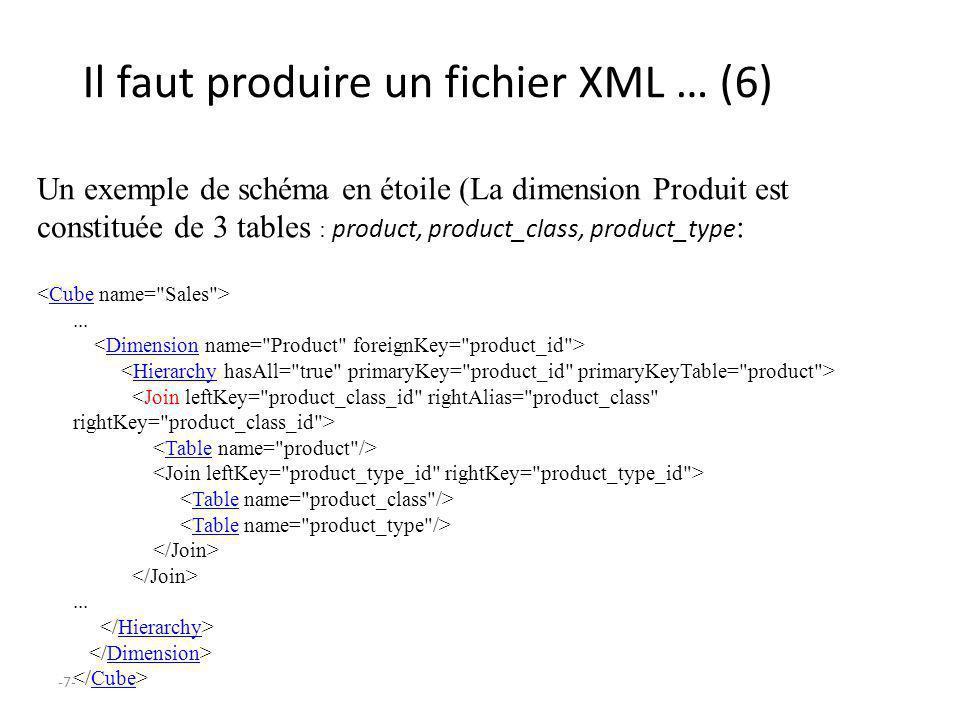 -7- Il faut produire un fichier XML … (6) Un exemple de schéma en étoile (La dimension Produit est constituée de 3 tables : product, product_class, pr