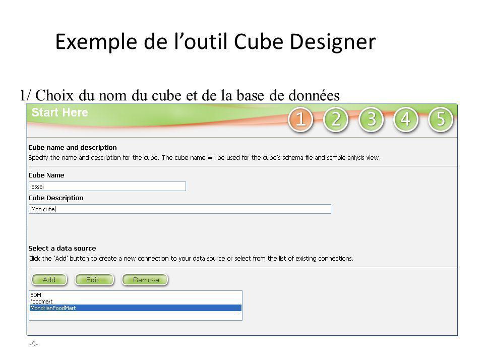 -9- Exemple de loutil Cube Designer 1/ Choix du nom du cube et de la base de données