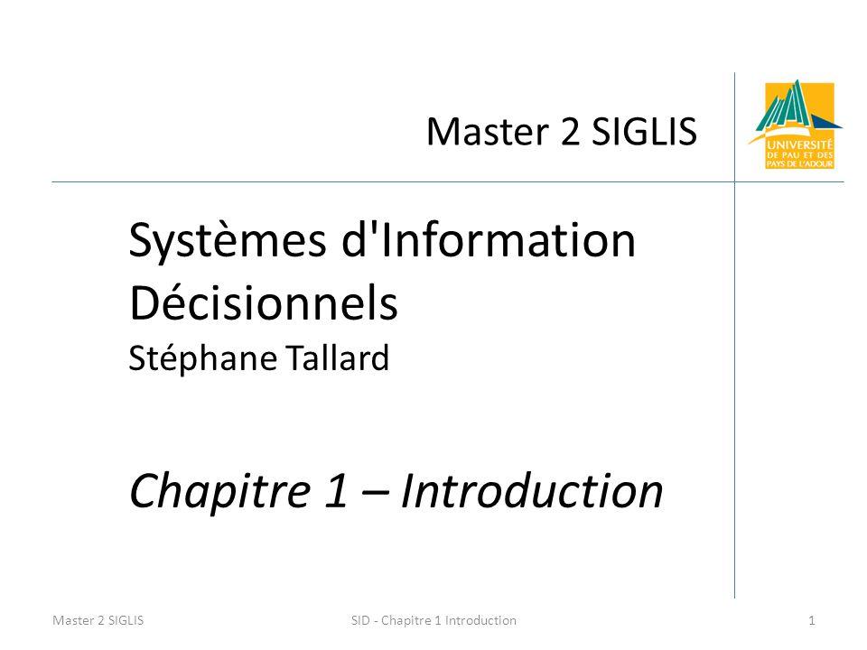 Master 2 SIGLIS Systèmes d'Information Décisionnels Stéphane Tallard Chapitre 1 – Introduction Master 2 SIGLIS1SID - Chapitre 1 Introduction