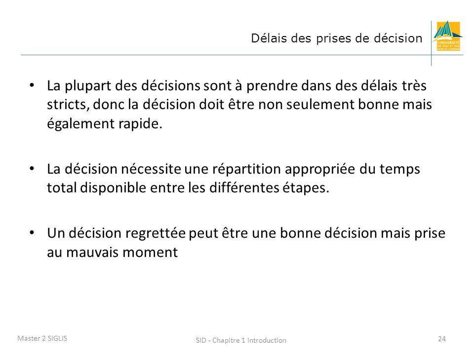 SID - Chapitre 1 Introduction 24 Master 2 SIGLIS Délais des prises de décision La plupart des décisions sont à prendre dans des délais très stricts, d
