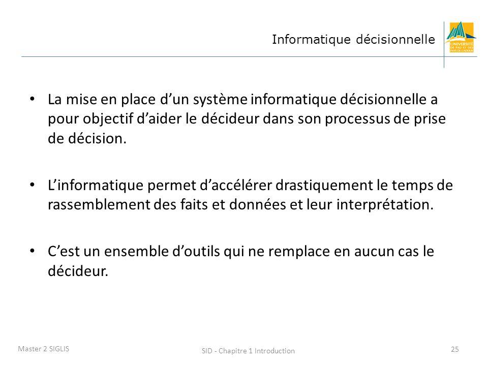 SID - Chapitre 1 Introduction 25 Master 2 SIGLIS Informatique décisionnelle La mise en place dun système informatique décisionnelle a pour objectif da