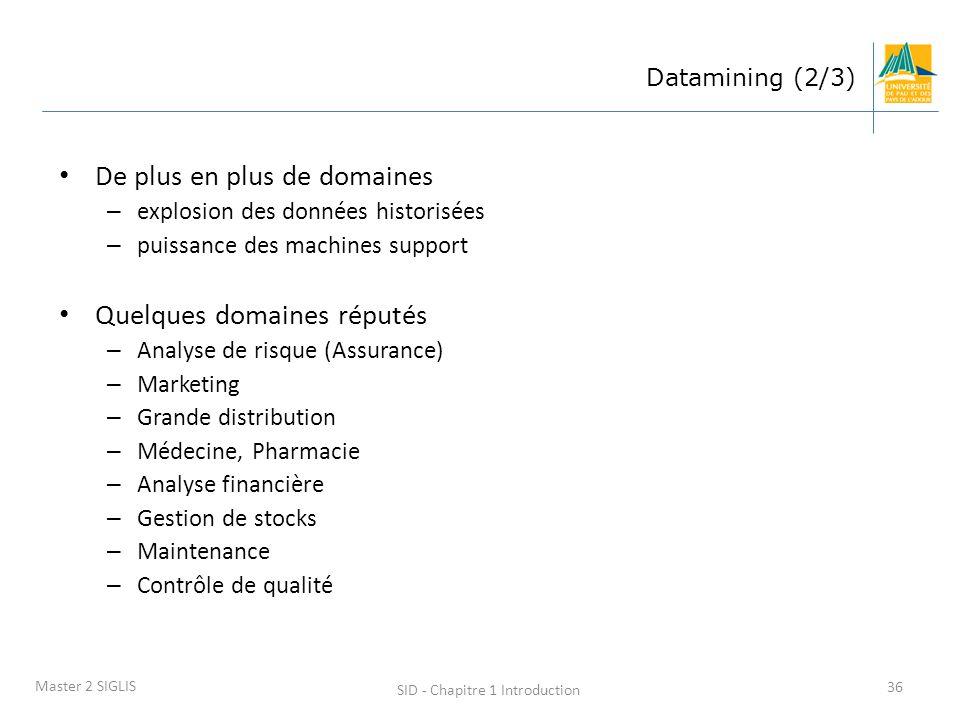 SID - Chapitre 1 Introduction 36 Master 2 SIGLIS Datamining (2/3) De plus en plus de domaines – explosion des données historisées – puissance des mach