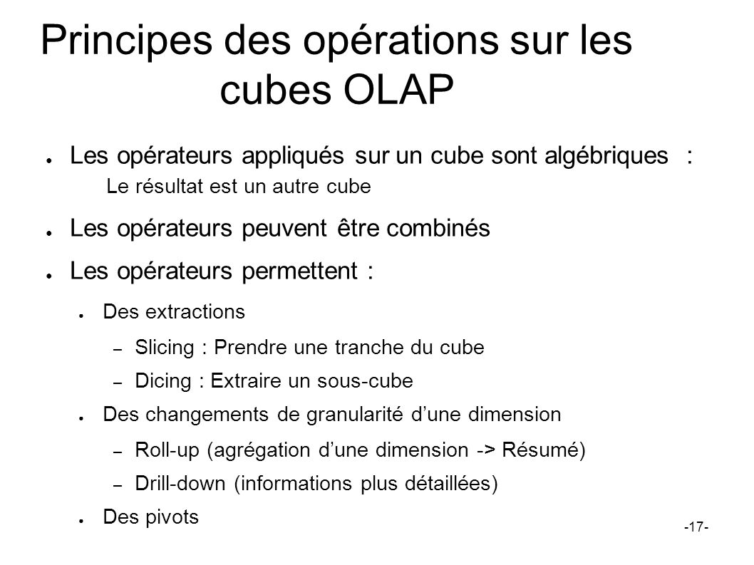 Principes des opérations sur les cubes OLAP Les opérateurs appliqués sur un cube sont algébriques : Le résultat est un autre cube Les opérateurs peuve