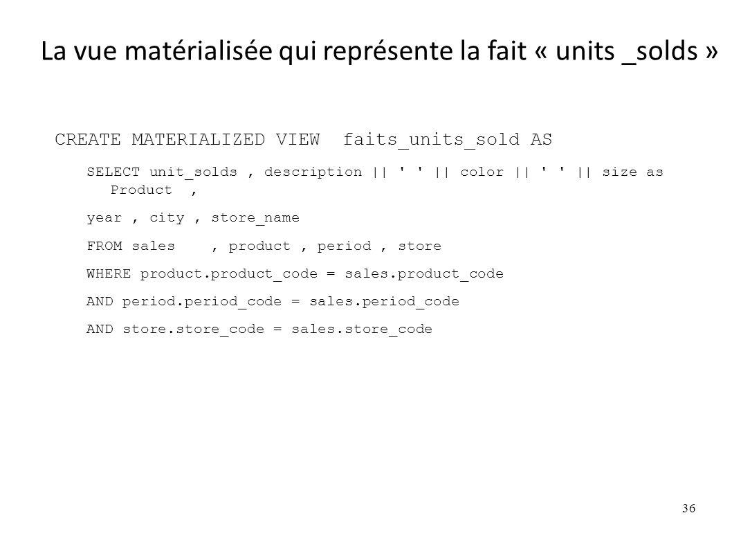 CREATE MATERIALIZED VIEW faits_units_sold AS SELECT unit_solds, description || || color || || size as Product, year, city, store_name FROM sales, product, period, store WHERE product.product_code = sales.product_code AND period.period_code = sales.period_code AND store.store_code = sales.store_code 36 La vue matérialisée qui représente la fait « units _solds »