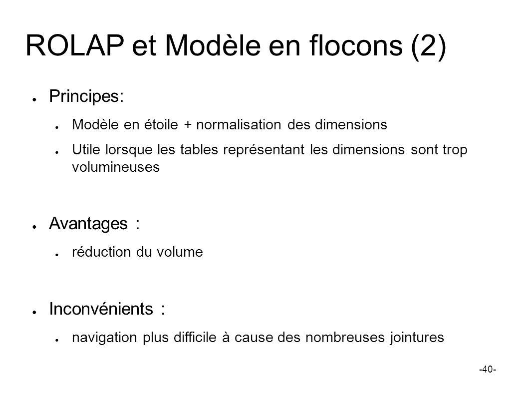 ROLAP et Modèle en flocons (2) Principes: Modèle en étoile + normalisation des dimensions Utile lorsque les tables représentant les dimensions sont tr