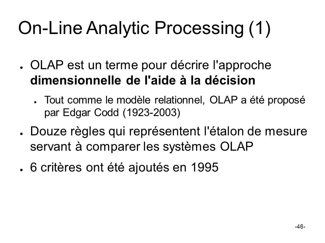 On-Line Analytic Processing (1) OLAP est un terme pour décrire l'approche dimensionnelle de l'aide à la décision Tout comme le modèle relationnel, OLA