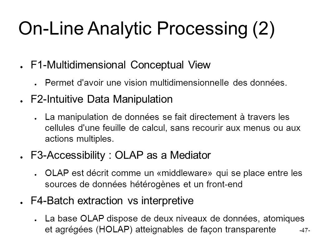 On-Line Analytic Processing (2) F1-Multidimensional Conceptual View Permet d'avoir une vision multidimensionnelle des données. F2-Intuitive Data Manip