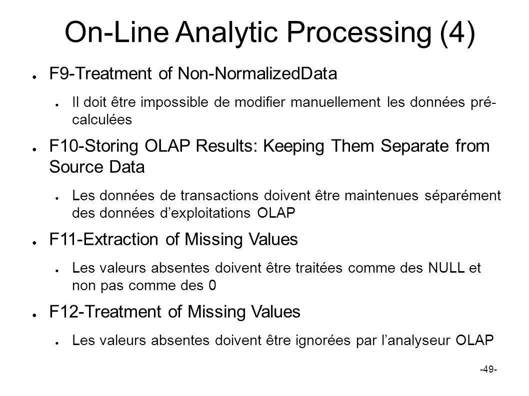 On-Line Analytic Processing (4) F9-Treatment of Non-NormalizedData Il doit être impossible de modifier manuellement les données pré- calculées F10-Sto