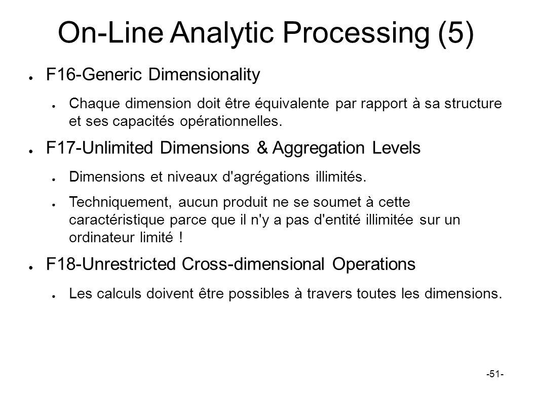 On-Line Analytic Processing (5) F16-Generic Dimensionality Chaque dimension doit être équivalente par rapport à sa structure et ses capacités opératio
