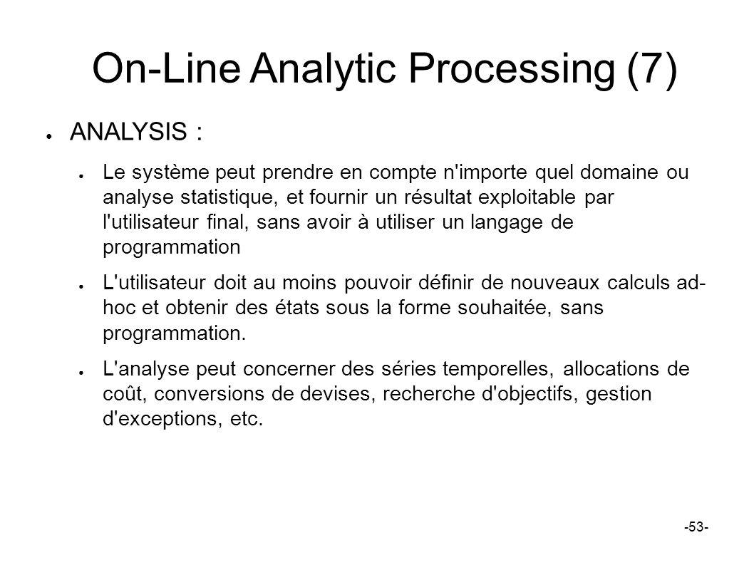 On-Line Analytic Processing (7) ANALYSIS : Le système peut prendre en compte n'importe quel domaine ou analyse statistique, et fournir un résultat exp