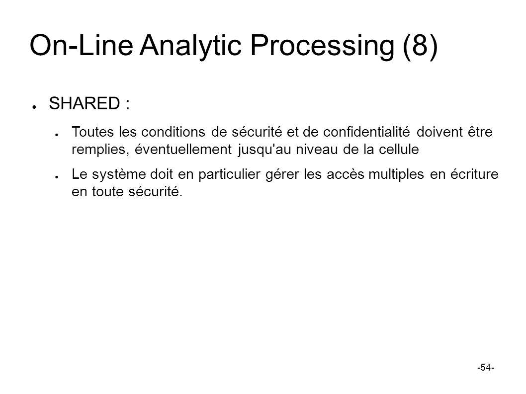 On-Line Analytic Processing (8) SHARED : Toutes les conditions de sécurité et de confidentialité doivent être remplies, éventuellement jusqu'au niveau
