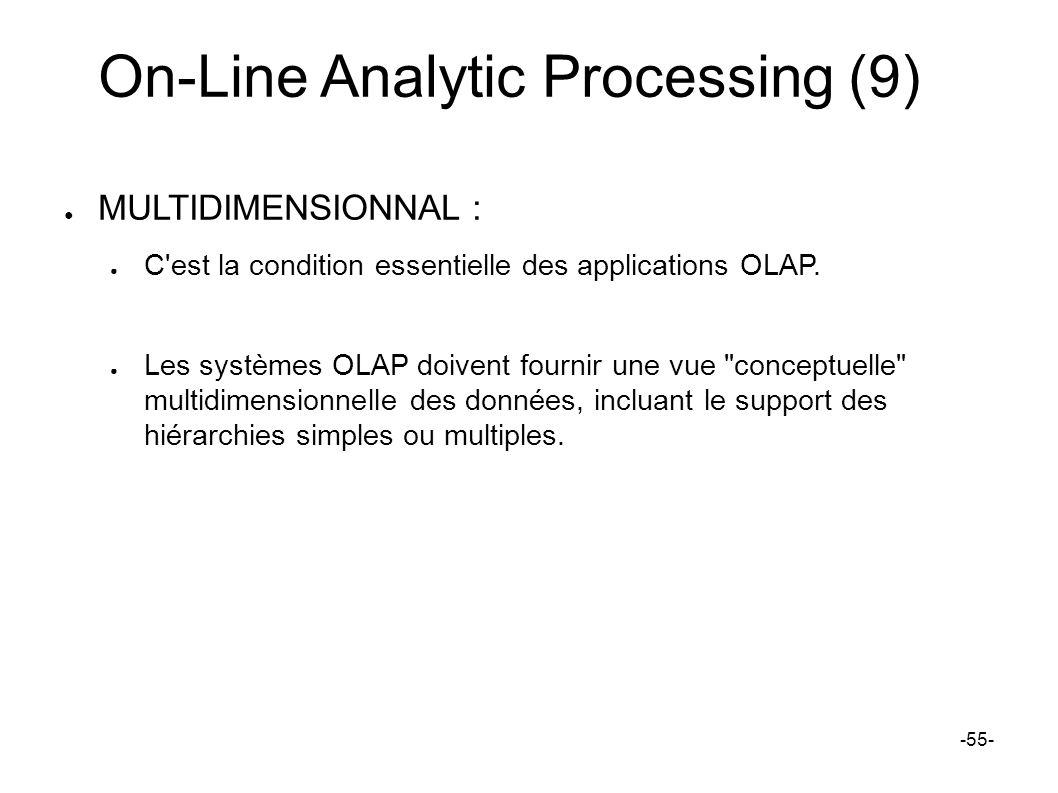 On-Line Analytic Processing (9) MULTIDIMENSIONNAL : C'est la condition essentielle des applications OLAP. Les systèmes OLAP doivent fournir une vue