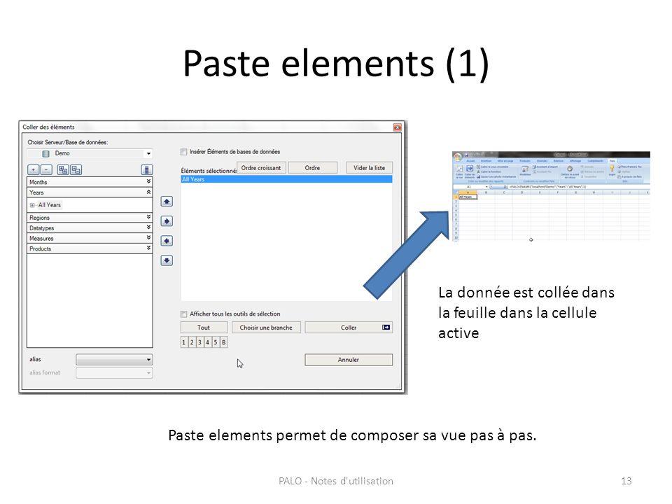 Paste elements (1) PALO - Notes d'utilisation13 La donnée est collée dans la feuille dans la cellule active Paste elements permet de composer sa vue p