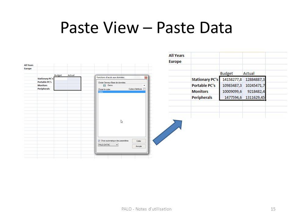 Paste View – Paste Data PALO - Notes d'utilisation15