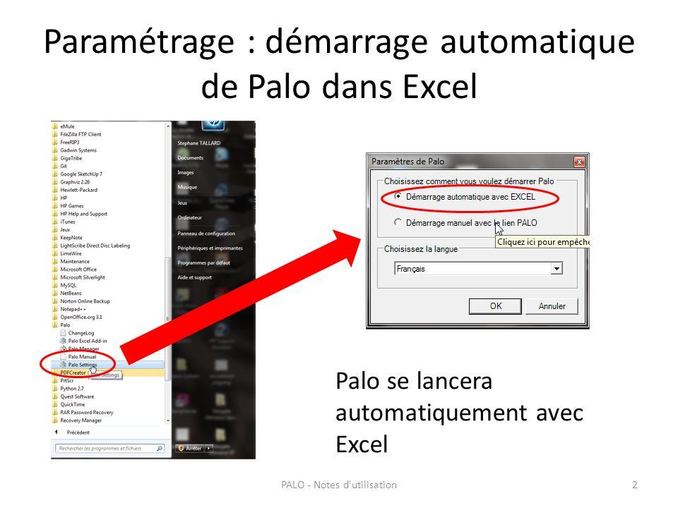 Paramétrage : démarrage automatique de Palo dans Excel PALO - Notes d'utilisation2 Palo se lancera automatiquement avec Excel