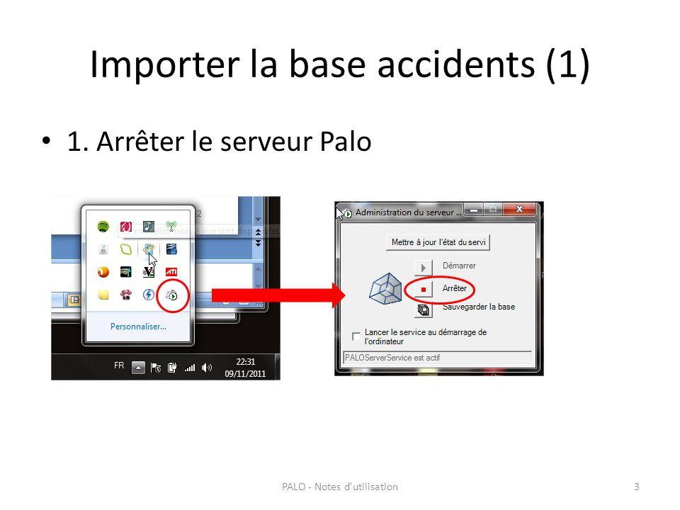 Importer la base accidents (1) 1. Arrêter le serveur Palo PALO - Notes d'utilisation3