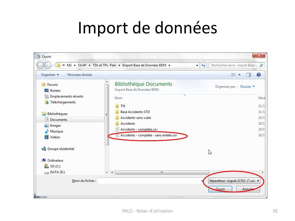 Import de données PALO - Notes d'utilisation30
