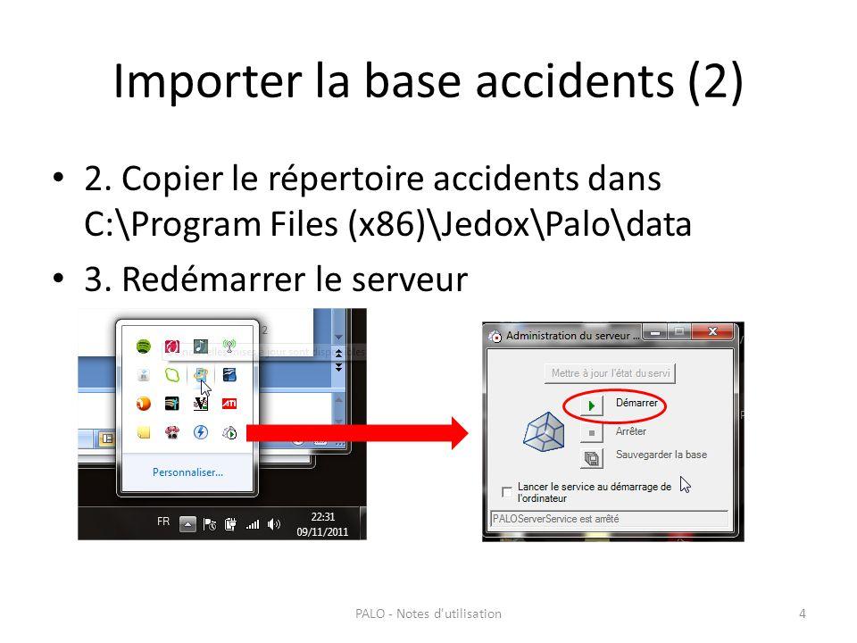 Importer la base accidents (2) 2. Copier le répertoire accidents dans C:\Program Files (x86)\Jedox\Palo\data 3. Redémarrer le serveur PALO - Notes d'u