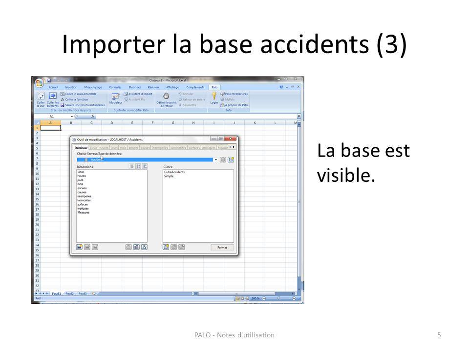 Importer la base accidents (3) PALO - Notes d'utilisation5 La base est visible.