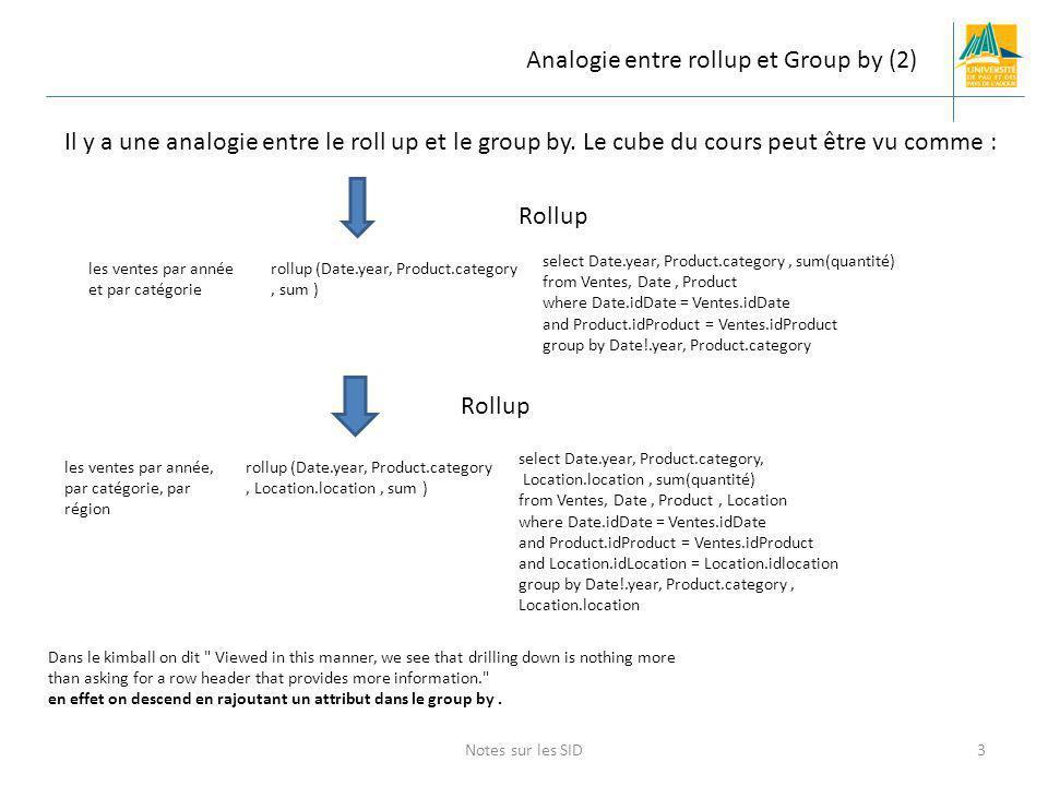 Notes sur les SID3 Analogie entre rollup et Group by (2) Il y a une analogie entre le roll up et le group by. Le cube du cours peut être vu comme : ro