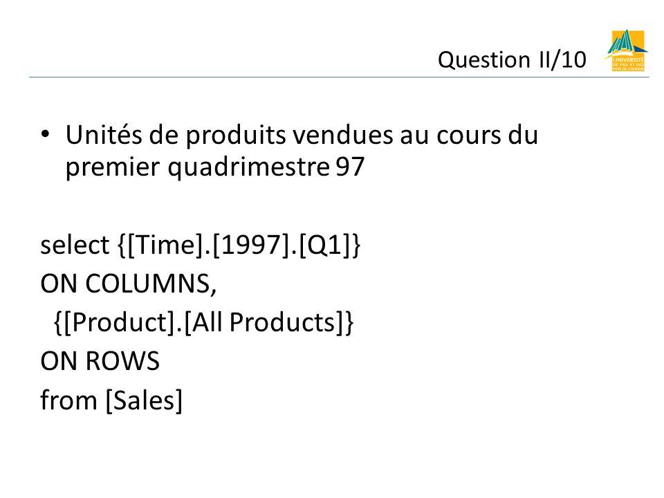 Unités de produits vendues au cours du premier quadrimestre 97 select {[Time].[1997].[Q1]} ON COLUMNS, {[Product].[All Products]} ON ROWS from [Sales] Question II/10