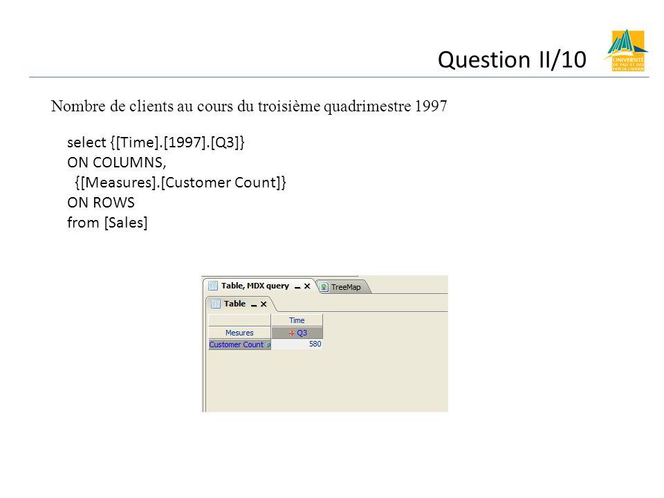Nombre de clients au cours du troisième quadrimestre 1997 select {[Time].[1997].[Q3]} ON COLUMNS, {[Measures].[Customer Count]} ON ROWS from [Sales]